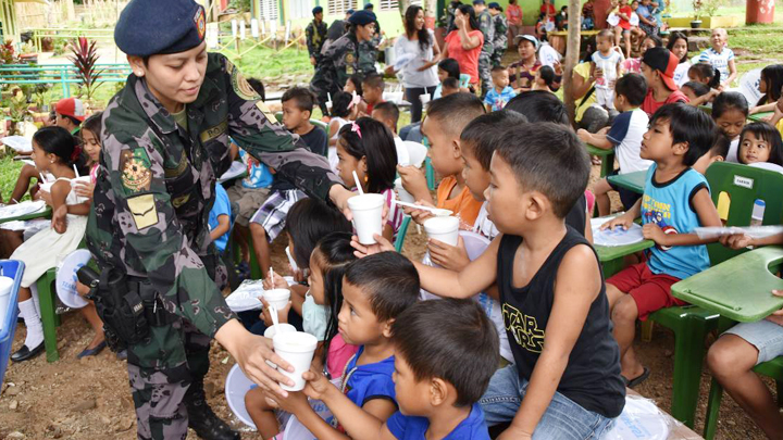 Pupils of Maranat Elementary School, Brgy. Bacungan, Puerto Princesa City are the recepients of the feeding program conducted by the police force and their partners.
