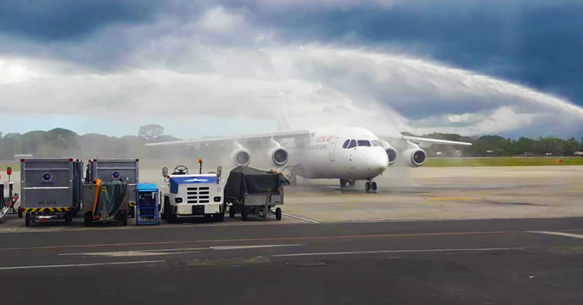 The traditional water salute to welcome the inaugural flight of Royal Air AVRO146 Flight RW 646 in Puerto Princesa International Airport from Cebu City. It will be flying back to Cebu thereafter. | Photo by Peter Levenson L. Policarpio / Palawan Daily News