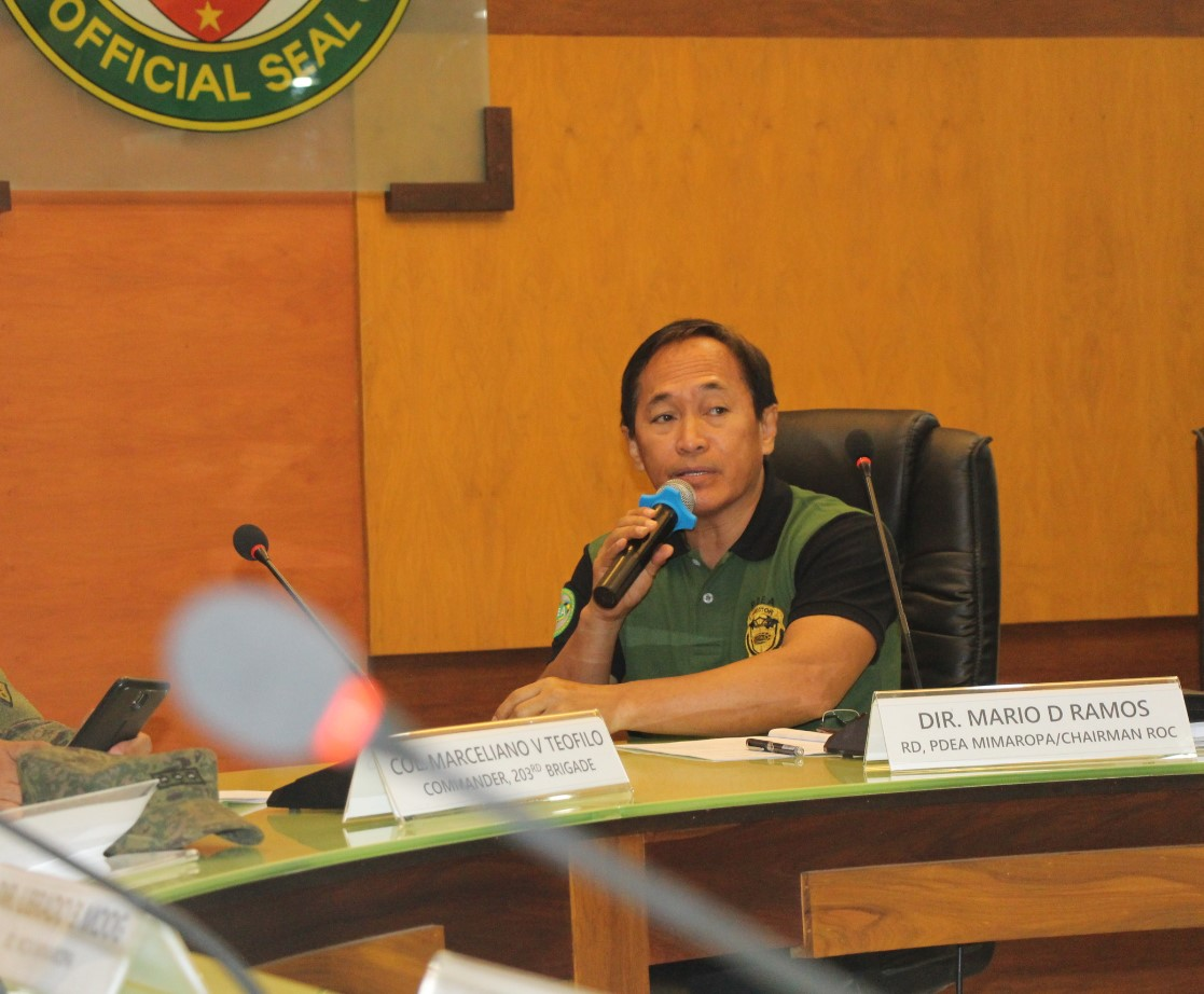 PDEA Mimaropa Regional Director Mario D. Ramos discusses the three-pronged anti-drug approaches during the Regional ICAD Coordinating Group and Regional Oversight Committees on Balay Silangan, Barangay and Jail Drug Clearing Operations Joint Meeting held at Tamaraw Hall, Capitol Complex, Calapan City, Oriental Mindoro on May 29, 2019.  (Photo by Luis T. Cueto/PIA)