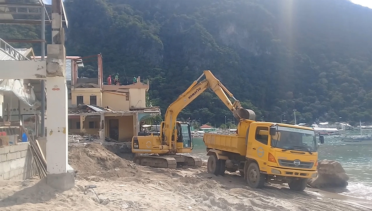 Cleanup has already started on El Nido.