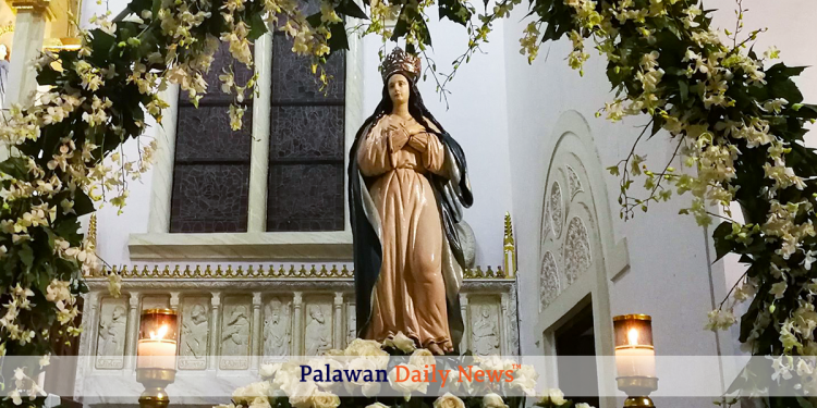 The image of the Blessed Virgin Mary inside the Immaculate Conception Cathedral. Photo by Evo Joel Contrivida/Palawan Daily News