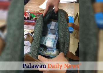 The bag containing the P2.5 million cash from businessman Eulogio Topacio, Jr. Photo from Mike Escote