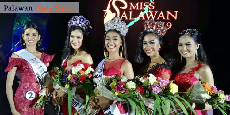 The Fiesta Queen, Miss Palawan 2019 winners.  From left to right: 1st runner-up: Angelica Lopez of Bataraza Miss Palawan North: Phoebe De Luna of San Vicente Miss Palawan 2019: Jennifer N. Linda of Puerto Princesa City, Miss Palawan South: Jamaica Venturillo of Cagayancillo, and 2nd runner-up: Gillean Jagmis of Cuyo.  Photo by Evo Joel Contrivida/Palawan Daily News
