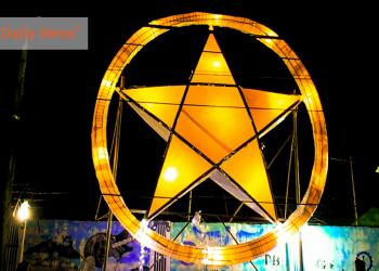 "Facing the national highway of Barangay Santa Monica, this giant star shines at night symbolizing the ""hope"" in every heart behind the high-and-barbed-iron-wire walls of prison. Photo by Melvin Garvilles/Palawan Daily News"