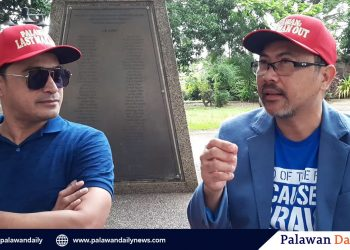 Inspire Studios CEO Francis Lara Ho and actor Cesar Montano at Plaza Cuartel. Montano is one of the leading actors in Inspire Studios' upcoming movie 'Palawan: Last Man Out'. Photo by Melvin Garvilles/Palawan Daily News