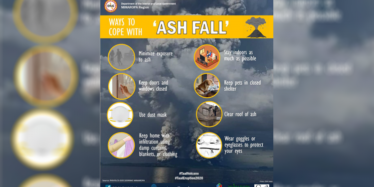 The Department of Interior and Local Government-MIMAROPA released an advisory on what to do in case your area is affected by ashfall. Infographic from DILG MIMAROPA Facebook page