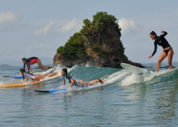 Miss Earth Candidates Surfing with Sanvic Surf. Photo courtesy of Lazuli Resort/SanVic Surf