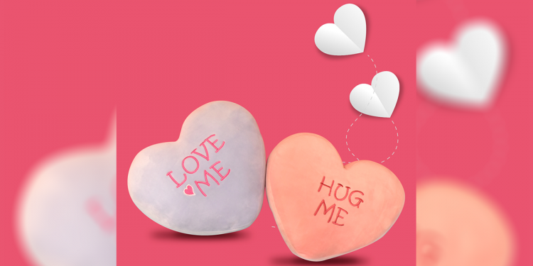 Express your love this Valentine's Day with these heart pillows with Valentine-inspired messages.