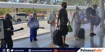 Foreign tourists undergo disinfection protocols at the PPIA  Photos courtesy of City Tourism Officer Aileen Cynthia Amurao
